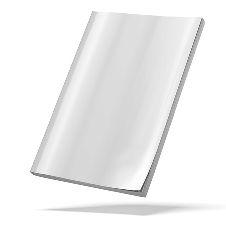 blank book cover: blank magazine isolated on a white background. 3d render