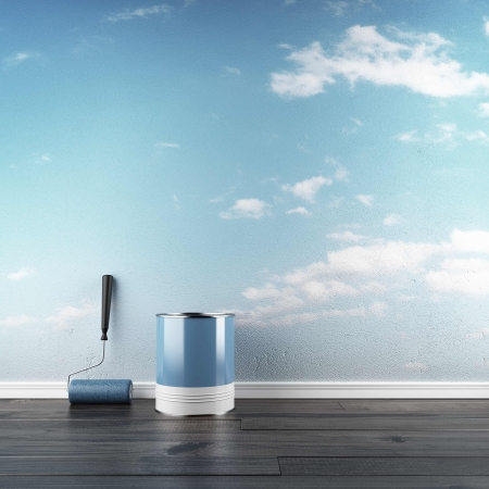 The drawn sky in interior. 3d render Banco de Imagens