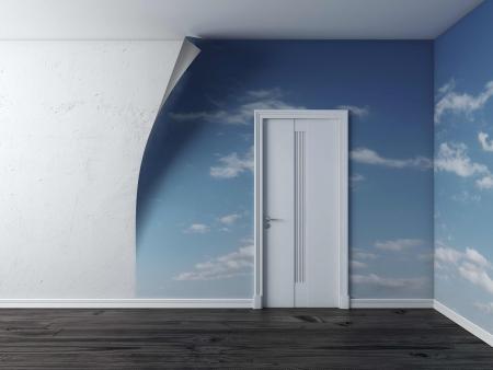 Cloud wallpapers in interior with door. 3d render photo