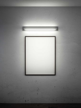 frame on wall with wall lamp in dark room. 3d render