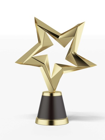 award trophy: Golden award isolated on a white background. 3d render
