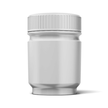 White medical container isolated on a white background. 3d render photo