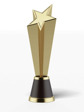Gold Star Award  isolated on a white background. 3d render