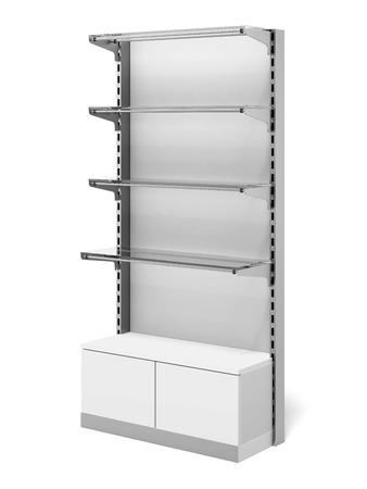 single shelf: Retail Store Shelf isolated on a white background. 3d render