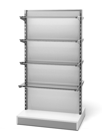 fixtures: White Retail Store Shelves isolated on a white background. 3d render