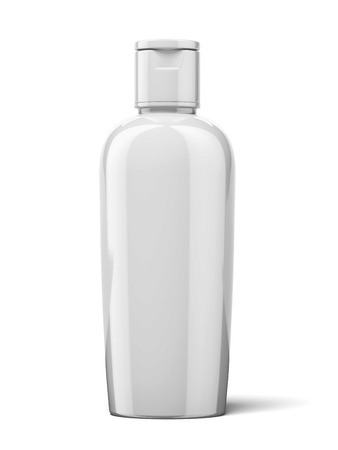 freshener: Shampoo Plastic Bottle isolated on a white background. 3d render