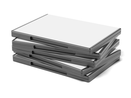 dvd cover: Stack of DVD boxes isolated on a white background. 3d render Stock Photo