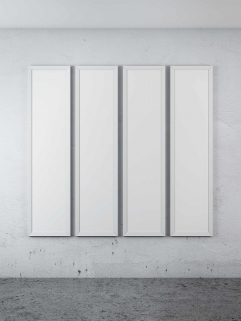 background abstracts: four blank posters in interior. 3d render Stock Photo