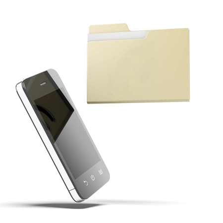 Folder and phone isolated on a white background. 3d render photo