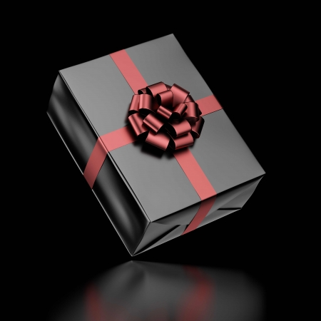 Black Gift Box with Ribbon isolated on a white background. 3d render Stock Photo - 23345675