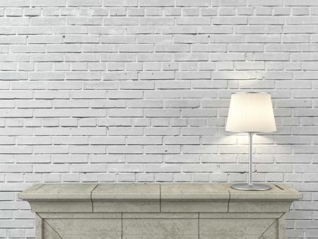 ランプが付いている暖炉