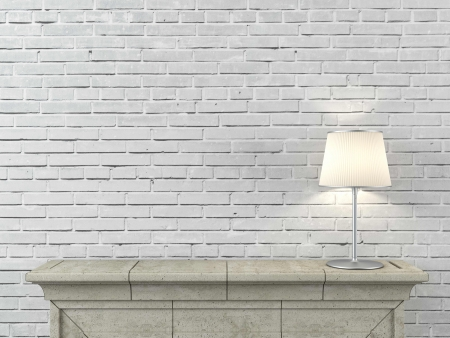 fireplace home: fireplace with lamp Stock Photo
