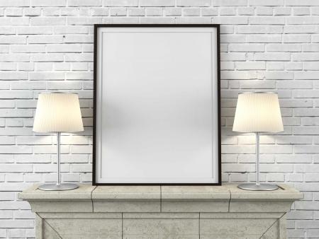 houten beeld met lampen in het interieur Stockfoto