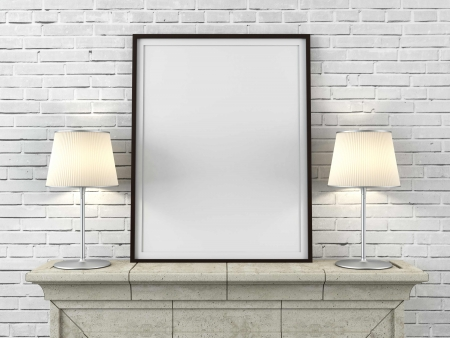 shelve: wooden picture frame with lamps in interior Stock Photo