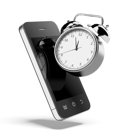 alarmclock: Alarm clock with smartphone isolated on a white background. 3d render Stock Photo