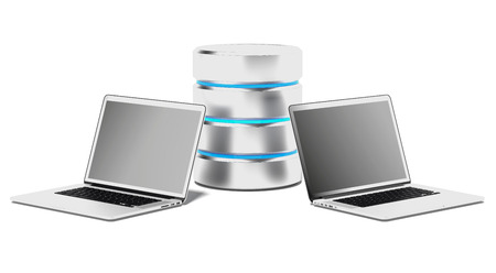 webserver: Database Concept with Laptops isolated on a white background. 3d render