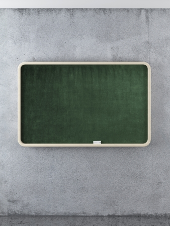 Empty chalk board on the concrete wall. 3d render photo