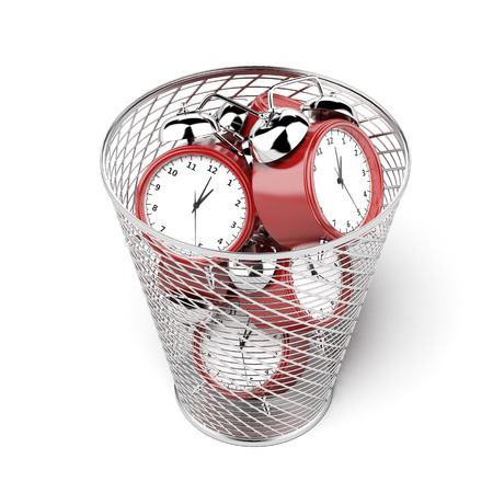 bucket of money: alarm clocks in the trash isolated on a white background? 3d render