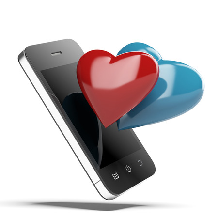 Smartphone With Love Hearts isolated on a white background. 3d render photo