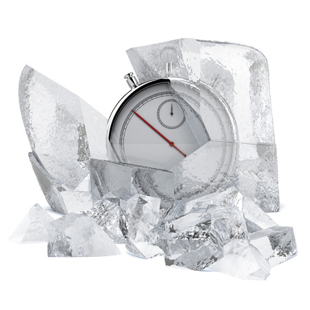 Stopwatch in ice isolated on a white background. 3d render photo