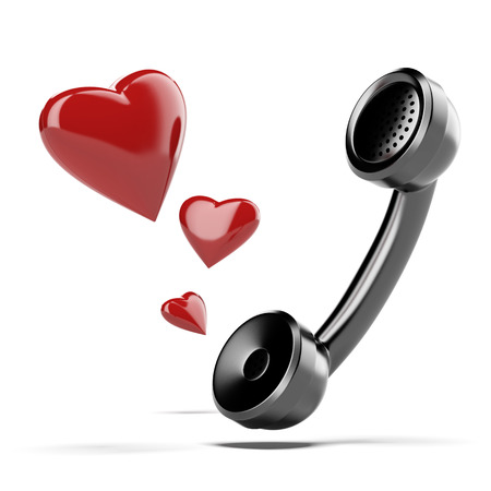 handset: handset with love heart isolated on a white background. 3d render