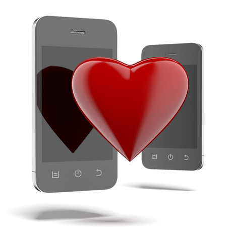 Two phones with red heart isolated on a white background. 3d render photo