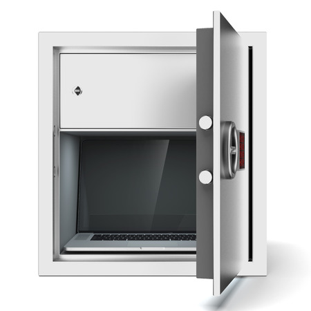 Laptop in metal safe isolated on a white background. 3d render photo