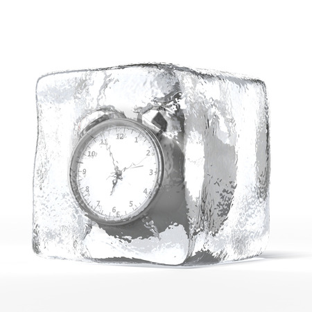 alarm clock in ice  isolated on a white background. 3d render photo