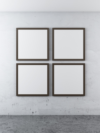 four frames on a concrete wall. 3d render photo