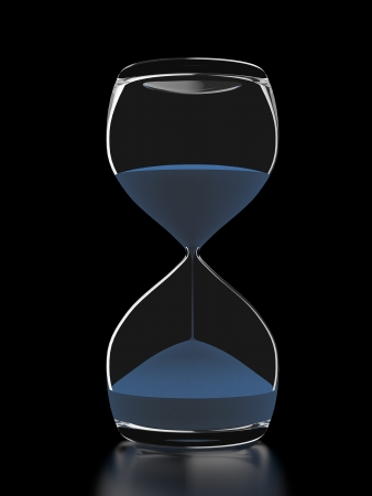Glass Hourglass  isolated on a black background. 3d render photo