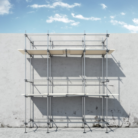 concrete stairs: scaffold on wall in front of sky  isolated on a white background? 3d render