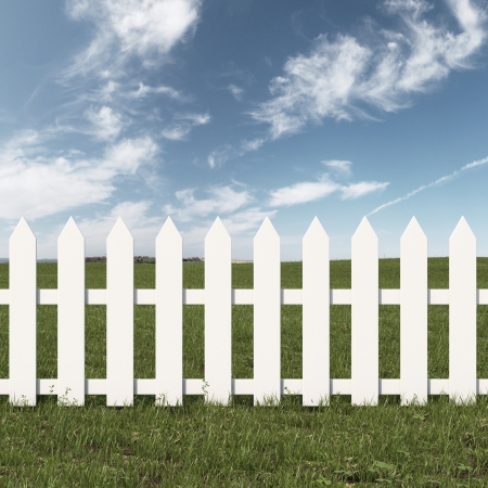 paling: Green field and white fence. 3d render