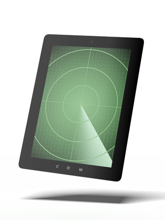 Tablet with radar isolated on a white background. 3d render photo