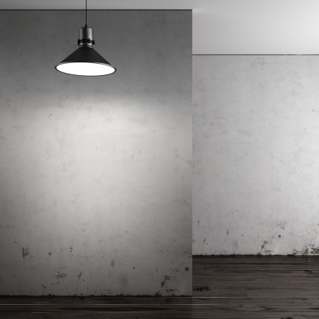 lamp silhouette: Gallery with empty walls. 3d render