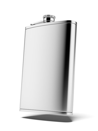 Stainless hip flask isolated on a white background. 3d render Stock Photo - 23440212