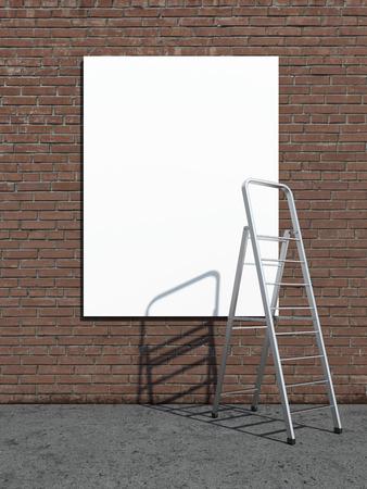 street advertising billboard with stepladder. 3d render photo