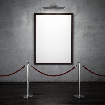 dark interior: dark interior  with stand barriers and blank frame. 3d render