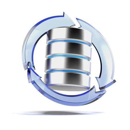 storage disk: Backup Concept with Database isolated on a white background. 3d render