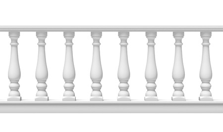 balustrade: White Balustrade  isolated on a white background. 3d render Stock Photo