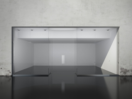Exterior of empty shop. 3d render photo