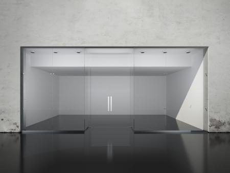 store window: Exterior of empty shop. 3d render