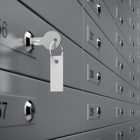 Deposit box with key. 3d render Stock Photo