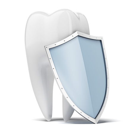 Tooth with shield isolated on a white background. 3d render