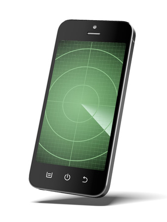 exterminate: Smartphone with radar isolated on a white background. 3d render