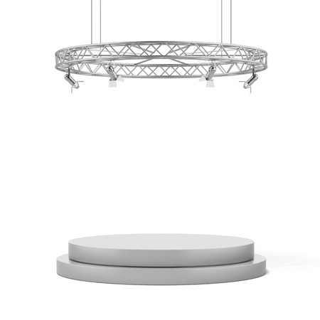 Empty white stage  isolated on a white background. 3d render