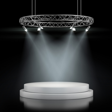 Empty stage in spot lights isolated on a black background. 3d render photo