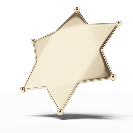 sheriffs:  golden sheriffs badge isolated on a white background. 3d render