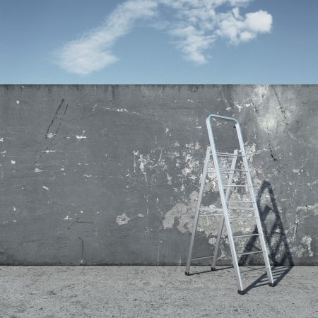 descends: stepladder with wall in front of sky. 3d render Stock Photo