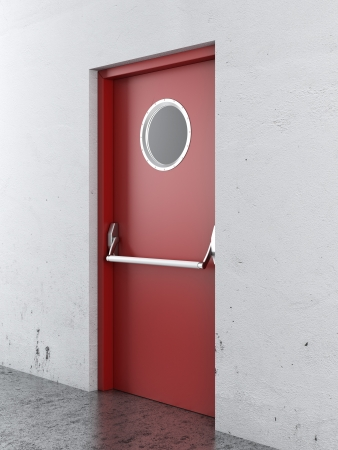 Emergency exit door. 3d render photo