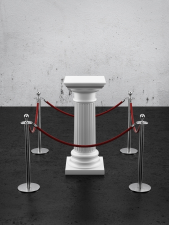 White  column as pedestal 3d render photo
